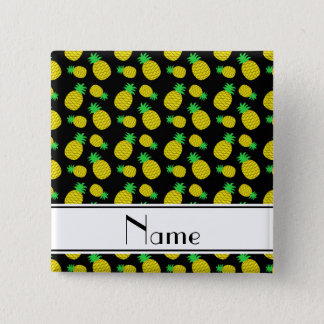 Personalized name black yellow pineapples pinback button