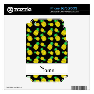 Personalized name black yellow pineapples skin for the iPhone 3GS