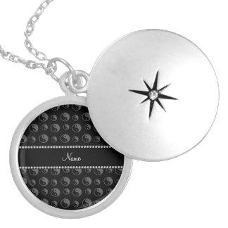 Personalized name black ying yang pattern locket necklace