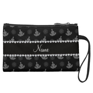 Personalized name black yoga pattern wristlet purses