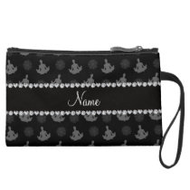 Personalized name black yoga pattern suede wristlet wallet