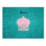 Personalized name bling cupcake diamonds postcards