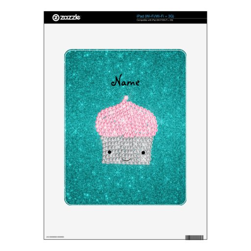 Personalized name bling cupcake diamonds iPad decals