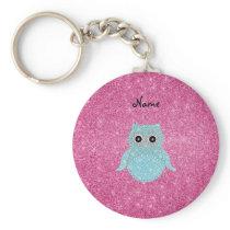 Personalized name bling owl diamonds keychain