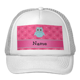 Personalized name bling owl diamonds pink bows mesh hat