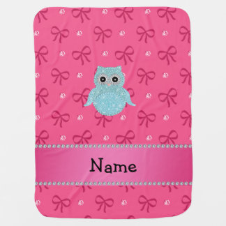 Personalized name bling owl diamonds pink bows swaddle blanket