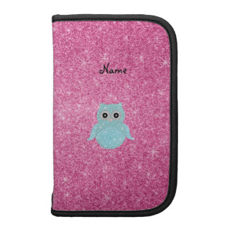Personalized name bling owl diamonds pink glitter folio planners