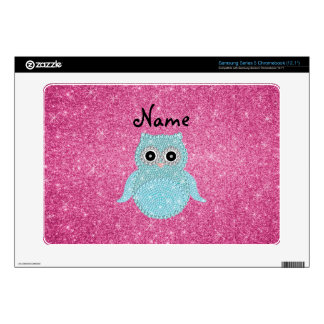 Personalized name bling owl diamonds pink glitter samsung chromebook decals