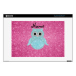"Personalized name bling owl diamonds pink glitter skin for 13"" laptop"