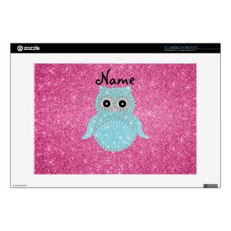 "Personalized name bling owl diamonds pink glitter 13"" laptop skins"