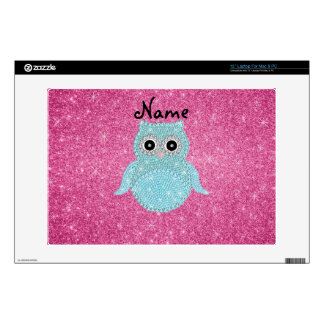 """Personalized name bling owl diamonds pink glitter skin for 13"""" laptop"""