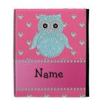 Personalized name bling owl diamonds pink hearts iPad folio case