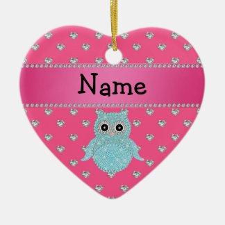 Personalized name bling owl diamonds pink hearts ceramic ornament