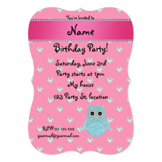 """Personalized name bling owl diamonds pink hearts 5"""" x 7"""" invitation card"""