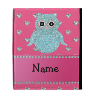 Personalized name bling owl diamonds pink hearts iPad folio cover