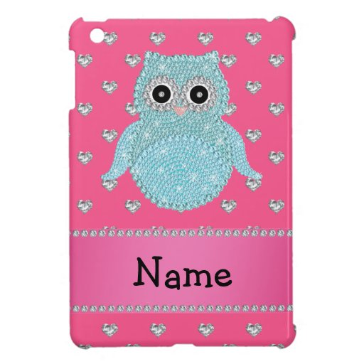 Personalized name bling owl diamonds pink hearts iPad mini case