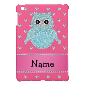Personalized name bling owl diamonds pink hearts iPad mini cover