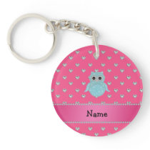 Personalized name bling owl diamonds pink hearts keychain