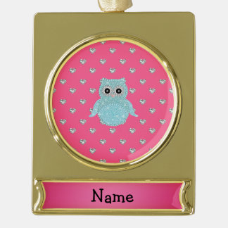 Personalized name bling owl diamonds pink hearts gold plated banner ornament