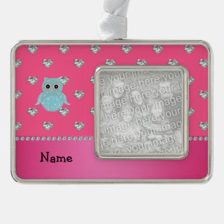 Personalized name bling owl diamonds pink hearts silver plated framed ornament