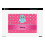 Personalized name bling owl diamonds pink hearts skin for netbook