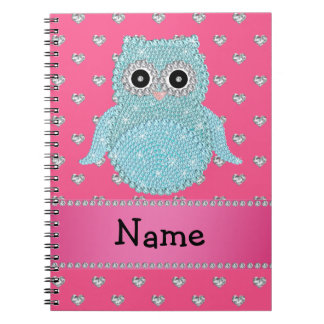 Personalized name bling owl diamonds pink hearts spiral notebook