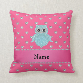 Personalized name bling owl diamonds pink hearts throw pillow