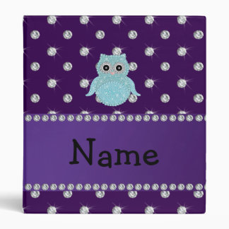 Personalized name bling owl diamonds purple diamon 3 ring binder
