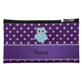 Personalized name bling owl diamonds purple diamon cosmetic bags