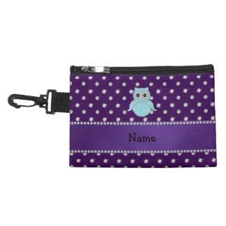 Personalized name bling owl diamonds purple diamon accessories bags