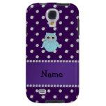 Personalized name bling owl diamonds purple diamon galaxy s4 case