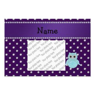 Personalized name bling owl diamonds purple diamon photo print