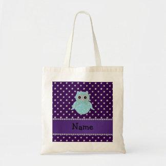 Personalized name bling owl diamonds purple diamon tote bag