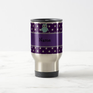 Personalized name bling owl diamonds purple diamon travel mug