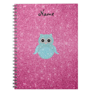 Personalized name bling owl diamonds spiral notebook