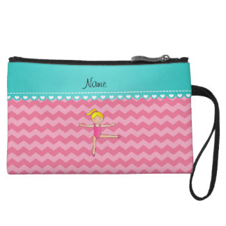 Personalized name blonde gymnast pink chevrons wristlet clutch