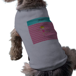 Personalized name blonde gymnast pink chevrons pet shirt