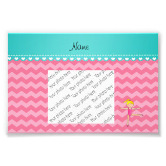 Personalized name blonde gymnast pink chevrons photo print