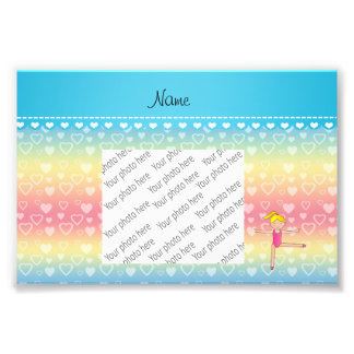 Personalized name blonde gymnast rainbow hearts photograph