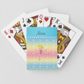 Personalized name blonde gymnast rainbow hearts playing cards