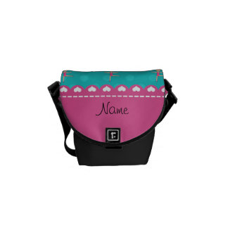 Personalized name blonde gymnast turquoise dots messenger bags