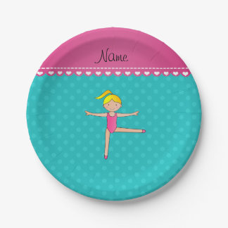 Personalized name blonde gymnast turquoise dots paper plate