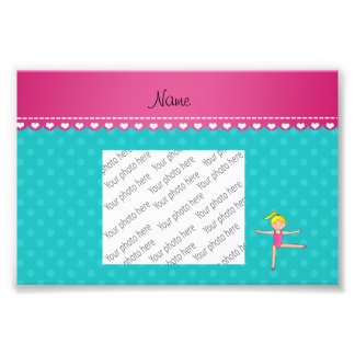 Personalized name blonde gymnast turquoise dots photo