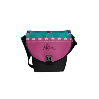 Personalized name blonde gymnast turquoise hearts messenger bags
