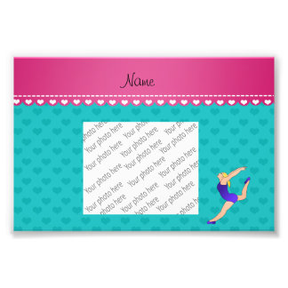 Personalized name blonde gymnast turquoise hearts photographic print