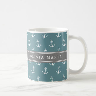 Personalized Name Blue Anchor Pattern Coffee Mug