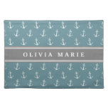 Personalized Name Blue Anchor Pattern Placemats