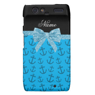 Personalized name blue anchors glitter bow droid RAZR case