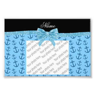 Personalized name blue anchors glitter bow photo