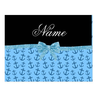 Personalized name blue anchors glitter bow post card